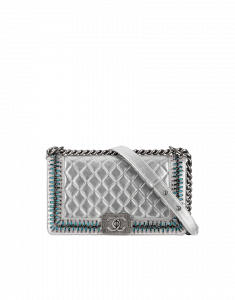 Chanel Silver Boy Chanel Embroideries Medium Flap Bag - Fall 2014 Act 2