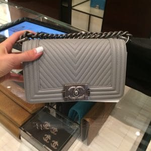 Chanel Taupe Herringbone Boy Flap Bag - Fall 2014 Act 1