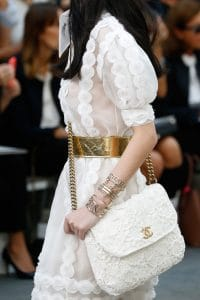 Chanel White Floral Embroidered Messenger Bag - Spring 2015