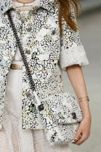 Chanel White/Dark Green Floral Printed Messenger Bag - Spring 2015
