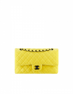 Chanel Yellow Velvet Classics in Fabric Medium Flap Bag - Fall 2014 Act 2