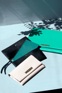 Chloe Ivory/Black/Turquoise Foldover Wallets - Spring 2015
