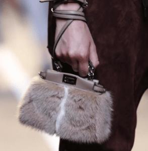 Fendi Beige Fur Peekaboo Micro Bag - Spring 2015