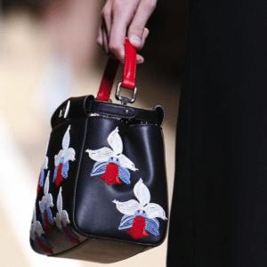 Fendi Black Floral Peekaboo Mini Bag - Spring 2015
