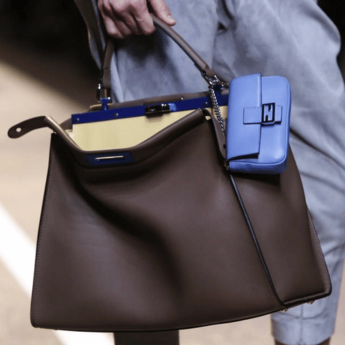 5e6843db1c Fendi Brown Peekaboo Bag with Light Blue Baguette Micro Bag - Spring 2015