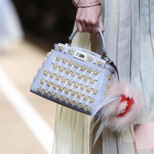 Fendi Light Blue Embellished Peekaboo Mini Bag - Spring 2015