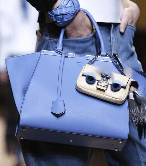 4041bb76d8 Fendi Light Blue Trois Jours Bag with Python Baguette Micro Bag- Spring 2015