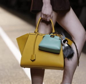 Fendi Yellow Trois Jour Bag with Mint Green Peekaboo Micro Bag - Spring 2015