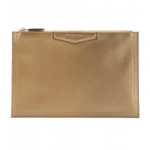 Givenchy Gold Antigona Zipped Clutch Bag