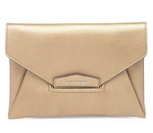 Givenchy Gold Metallic Antigona Envelope Clutch Bag