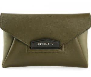 Givenchy Khaki Green Antigona Envelope Small Clutch Bag