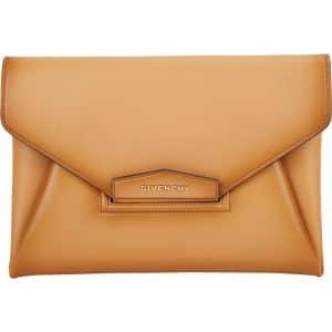 Givenchy Tan Vintage Calfskin Antigona Envelope Clutch Bag