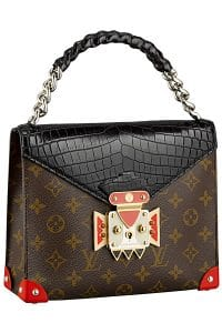 Louis Vuitton Black Pochette Mask Crocodiliens GM Bag - Cruise 2015