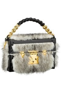 Louis Vuitton Black/Gray Fur Petite Malle Bag - Cruise 2015