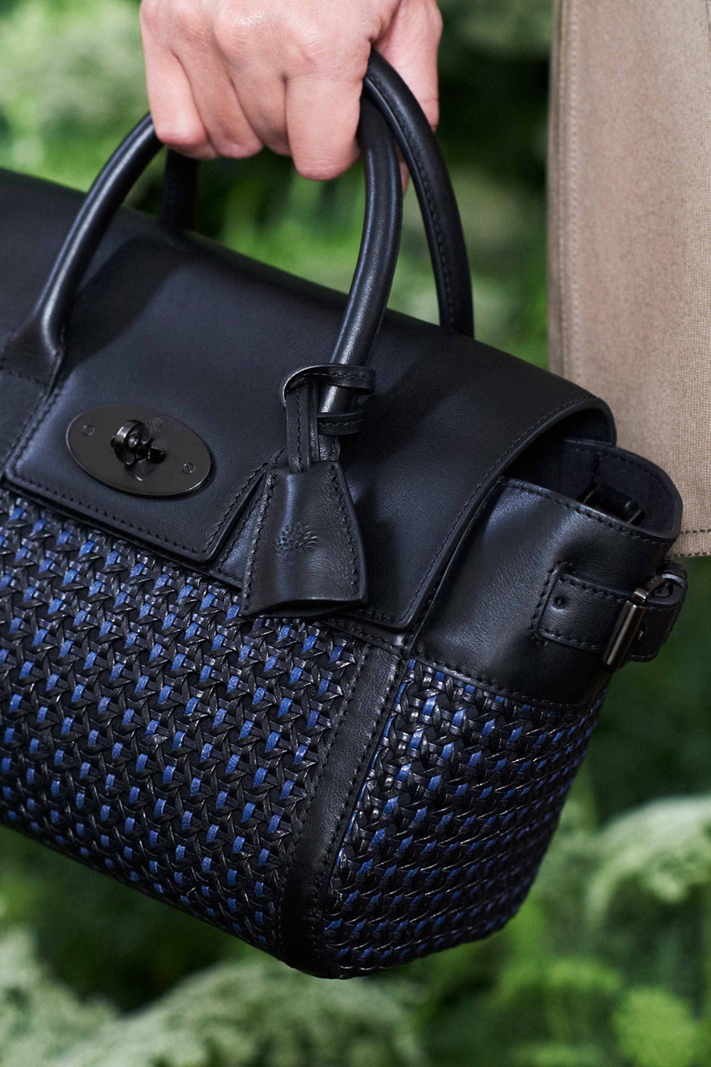 9ef3b91f6a Mulberry Black Blue Woven Bayswater Buckle Bag - Spring 2015