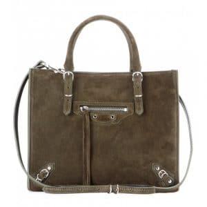 Balencia Vert Suede Mini Papier A4 Zip Around Bag