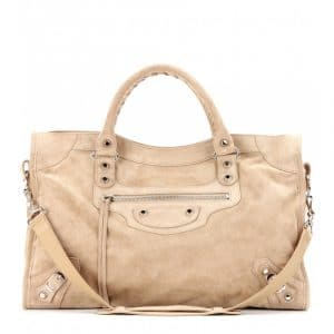 Balenciaga Beige Suede Classic City Bag
