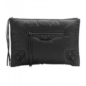 Balenciaga Black Nylon Classic Pouch Clutch Bag