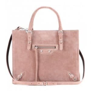 Balenciaga Bois De Rose Suede Mini Papier A4 Zip Around Bag