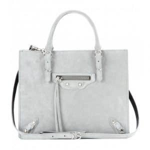 Balenciaga Gris Fumme Suede Mini Papier A4 Zip Around Bag