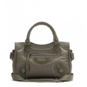 Balenciaga Khaki Nylon Classic Mini City Bag