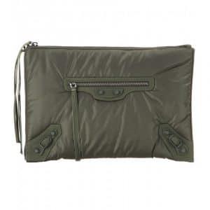 Balenciaga Khaki Nylon Classic Pouch Clutch Bag