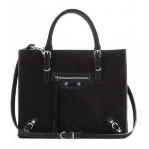 Balenciaga Noir Suede Mini Papier A4 Zip Around Bag