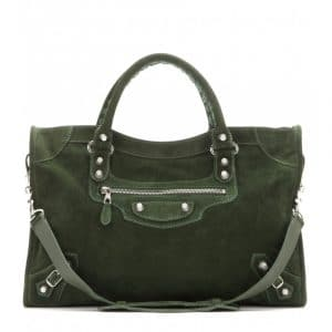 Balenciaga Vert Mil Suede Giant 12 City Bag