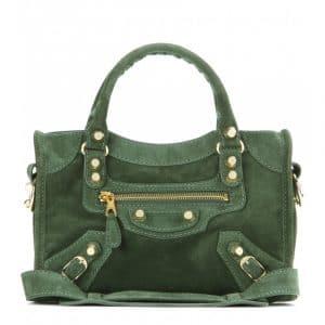 Balenciaga Vert Mil Suede Mini City Bag