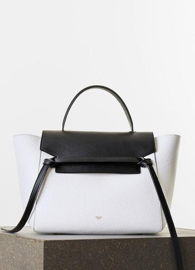 celine white leather handbag ring