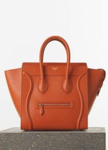 Celine Burnt Orange Smooth Calfskin Mini Luggage Bag - Spring 2015