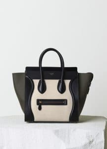 Celine Khaki Linen Mini Luggage Bag - Pre-Fall 2014