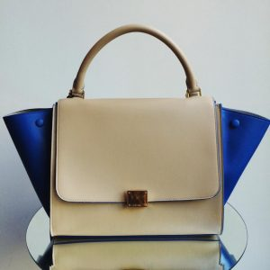 Celine Khaki Trapeze Bag with Blue Wings All Leather - Fall Winter 2014