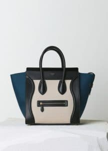 Celine Metallic Blue Linen Mini Luggage Bag - Pre-Fall 2014