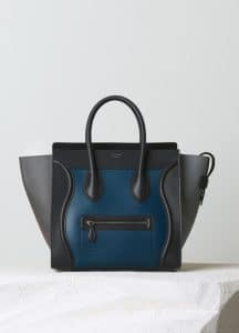 Celine Metallic Blue Satin Calfskin Mini Luggage Bag - Pre-Fall 2014