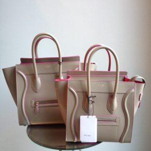 Celine Micro Khaki Luggage Tote Bag with Fuschia Piping - Fall Winter 2014