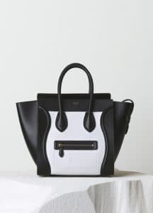 Celine White/Black Textured Calfskin Mini Luggage Bag - Pre-Fall 2014