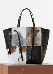 Celine White/Black/Brown Goat Fur Phantom Cabas Large Bag - Spring 2015
