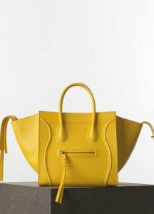 Celine Yellow Grained Calfskin Phantom Luggage Medium Bag - Spring 2015