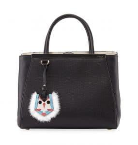 Fendi Black Monster Charm 2Jours Mini Bag