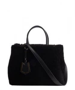 Fendi Black Shearling 2Jours Bag