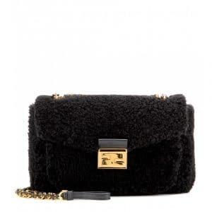 Fendi Black Shearling Be Baguette Bag
