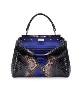 Fendi Black/Cobalt Python Peekaboo Mini Bag