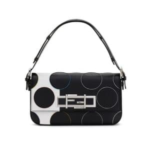 Fendi Black/White Polkadots Baguette Bag