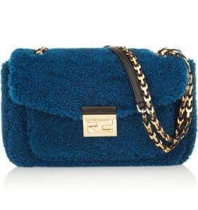 Fendi Blue Shearling Be Baguette Bag