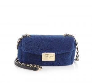 Fendi Blue Shearling Be Baguette Mini Bag