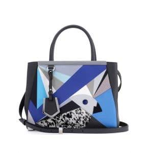 Fendi Blue/Black Marquery Geometric 2Jours Mini Bag