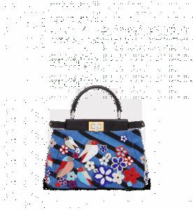 Fendi Denim Embroidered Peekaboo Mini Bag