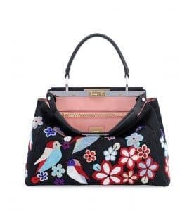 Fendi Denim Floral/Bird Beaded Peekaboo Bag
