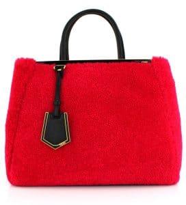 Fendi Fuchsia Shearling 2Jours Bag